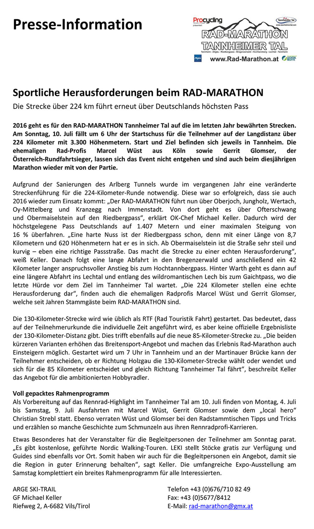 Pressemeldung Rad-Marathon Tannheimer Tal 2016